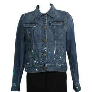 Lauren by Ralph Lauren Paint Splatter Jean Jacket